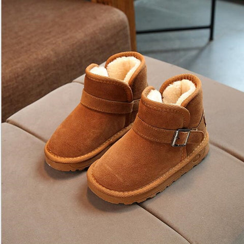 4fcefee1d340 Pu Leather Children Fur Boots Fashion Snow Boots Kids Warm Cotton Shoes For Boys  Girls Rubber