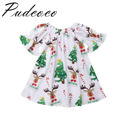 Pudcoco  2018 Brand New  Christmas Newborn Baby Girls Deer Print Sleeved Dress Dress Casual Clothes