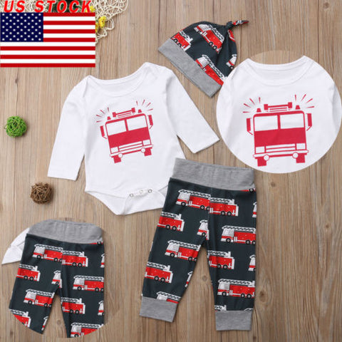 Pudcoco New Toddler Car Print Clothes Set 3Pcs Newborn Baby Boy Girl Bus Cotton Romper Legging Pant Hat Children Casual Outfit