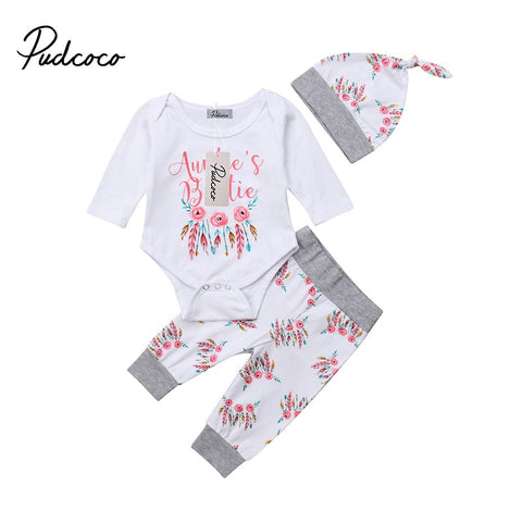Pudcoco Newborn Infant Baby Girls Winter Clothes Letter Print Floral Romper+Leggings Pants Hat 3pcs Outfit
