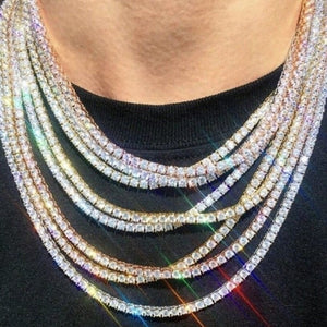 Punk Hiphop Rhinestone Tennis Chain Necklace Men Women Silver Gold Iced Out Chain Link Necklace Mens Jewelry Tennis Bling Chain