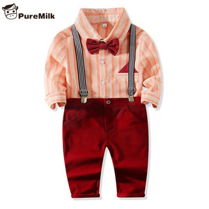 PureMilk Striped Baby Boy Clothes Red Baby Clothes 4PCS/SET Vestidos For Bebes Newborn Baby Clothes - thefashionique
