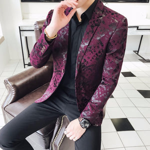 Purple Blazers Mens 5XL Americana Hombre Stage Clothes For Singers Mens Blazers 2018 Club Dress Jackets Erkek Blazer Ceket Slim - thefashionique