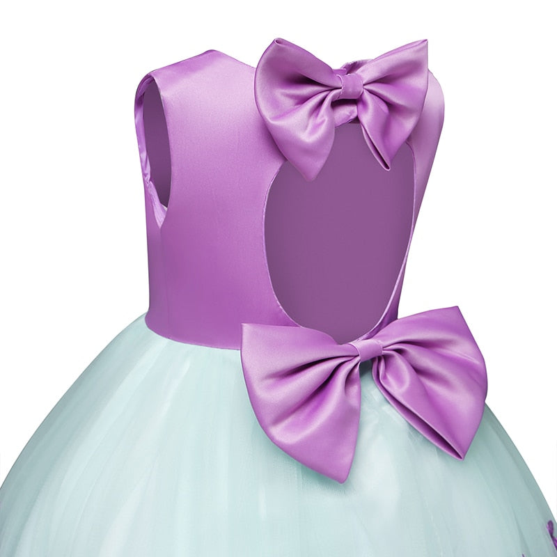 Purple Embroidery Floral Ball Gown for Baby Girl Birthday Dress Toddler Girl Formal Events Clothing Kids Halloween Party Dresses - thefashionique