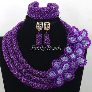 Purple/Lilac Chunky Crystal Necklace Earrings Bracelet Jewelry Set African Women Party Gift Jewellery Set Free Shipping ALJ011