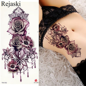 Purple Rose Jewelry Water Transfer Tattoo Stickers Women Body Chest Art Temporary Tattoo Girl Waist Bracelet Flash Tatoos Flower - thefashionique
