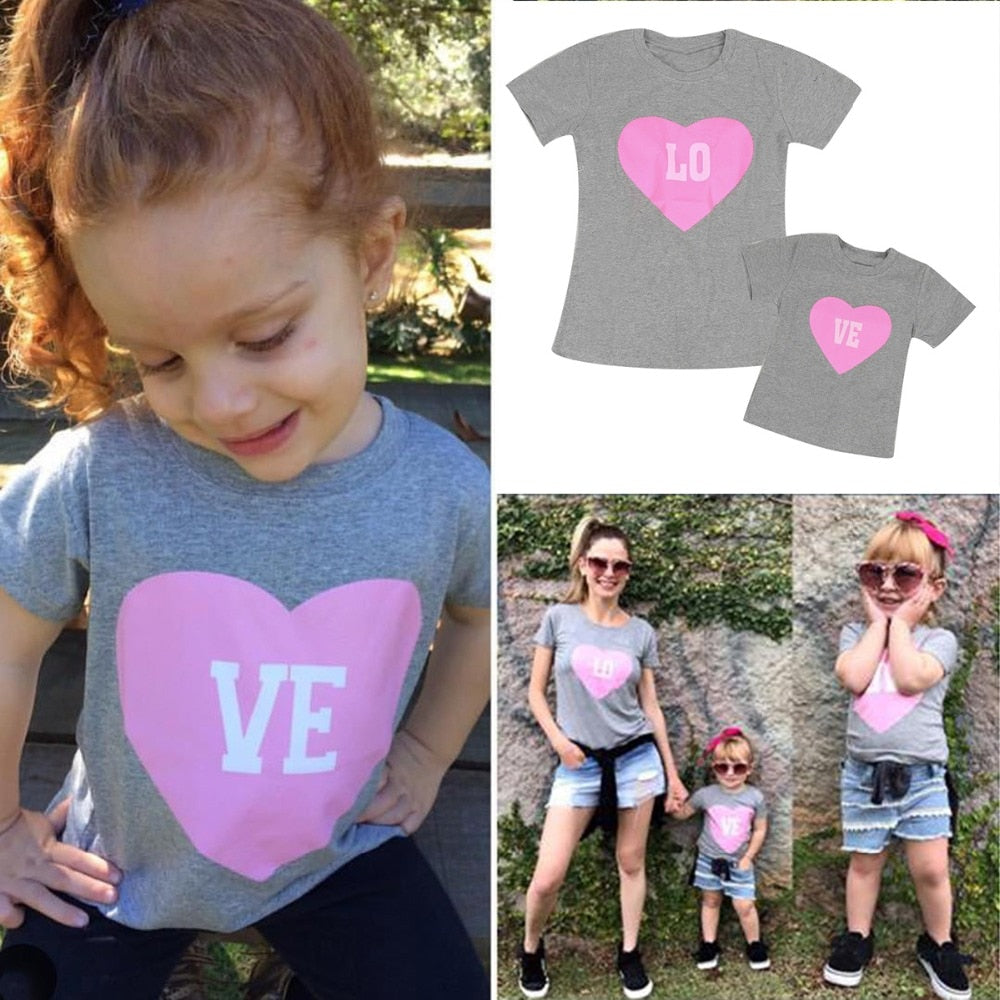 Puseky Family Matching Outfits Mom and Me Clothes Letter Short Sleeved Tshirt Mother Daughter Love Heat Print Family Clothing - thefashionique
