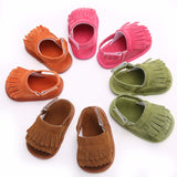 Puseky Pu Leather Tassel Baby Moccasins Tassel Girls Baby Shoes Scarpe Neonata Hook And Loop Outdoor Shoes Hard Rubber Bottom - thefashionique