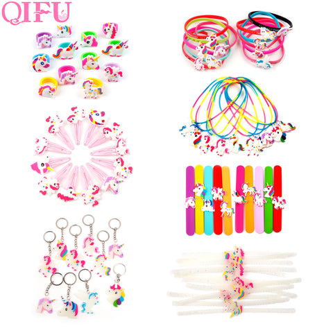 QIFU Cartoon Unicorn Theme Party Decor  Unicorn Ring KeyChain Clip Inflatable Unicorn Balloons Helium For Kids Festival Supplies