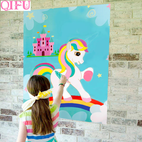QIFU Pin The Horn On The Unicorn Party Game Kids Birthday Party Unicorn Decorative Festive Party Supplies Festive Party Games