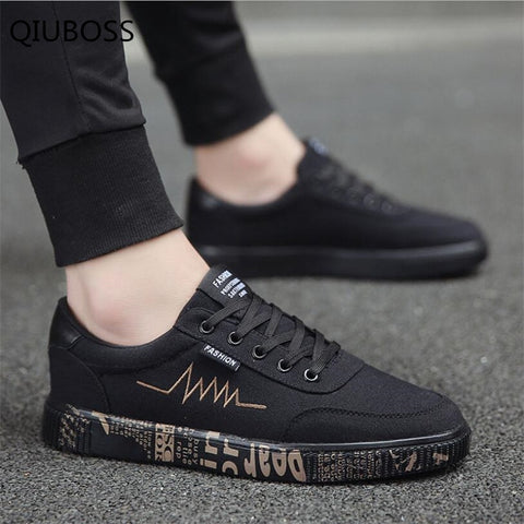 QIUBOSS 2018 New Summer Men's Vulcanized Shoes Men Breathable Shoes Male For Solid Flat Lace-up casual  Vulcanized Shoe Q76