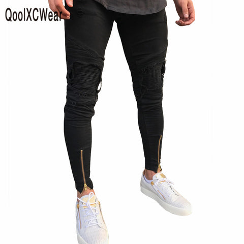 QoolXCWear hot sell men designer jeans black jeans men casual male jean skinny motorcycle high quality denim pants