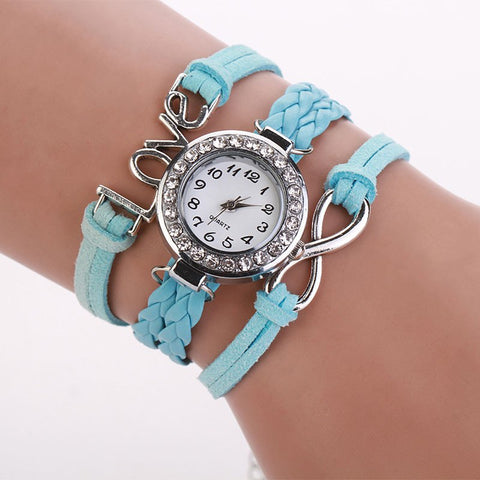Quartz-watch Drop Shipping 2017 MALLOOM PU Leather Long Strap Chain Bracelet Women Dress Watch Girls   Rhinestone Quartz Watches