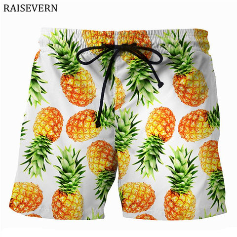 RAISEVERN 2018 New Pineapple Men Shorts Casual Cool Summer 3D Print Men Elastic Waist Beach Shorts Male Fitness Trousers Shorts - thefashionique