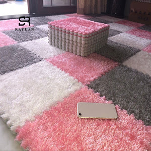 RAYUAN One Piece 30x30CM EVA Foam DIY Puzzle Mat Long Hair Villi Shaggy Carpet Mat Plush Soft Area Rug Children Baby Playmat