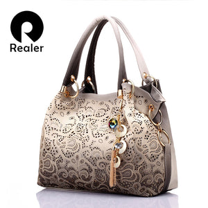 REALER brand women bag hollow out ombre handbag floral print shoulder bags ladies pu leather tote bag red/gray/blue - thefashionique