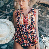 RED Boho blouse 2017 autumn birds floral print blouses Vinatge o-Neck Sleeveless Bohemia women blouses Hippie TOP - thefashionique