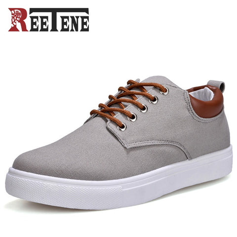 REETENE New Arrival Spring Summer Comfortable Casual Shoes Mens Canvas Shoes For Men Lace-Up Brand Fashion Flat Loafers Shoe - thefashionique