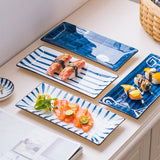 RHE Rectangular Japanese style Ceramic dinner plate Steak Dessert Sushi Porcelain plates Kitchen dining room Tableware set
