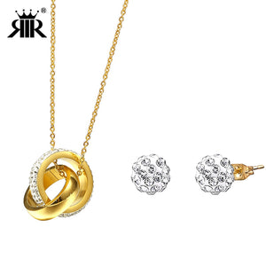 RIR Gold Elegant Jewelry Sets Women Shambhala Necklace and Earrings For Wedding Cheap Jewelry Sets and More Under 5 Dollars - thefashionique