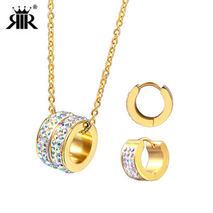 RIR Latest Ballet Dancer Rhinestone Gold Jewelry Sets Stainless Steel Necklace Set For Womens Jewellery Sets and More - thefashionique