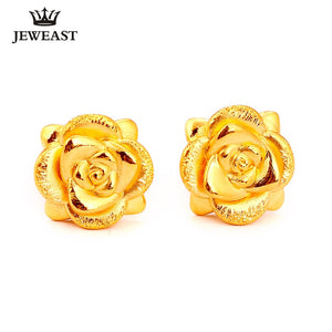 RN 24K Pure Gold Earring Real AU 999 Solid Gold Earrings Nice 3D Rose Upscale Trendy Classic  Fine Jewelry Hot Sell New 2020