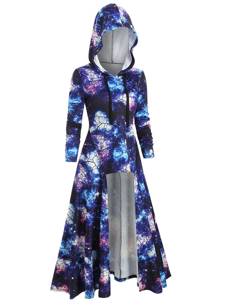 ROSEGAL Hooded Galaxy Print High Slit Maxi Top Extra Long Casual Party Dresses 2019 Autumn Lace Up Floor Hoodie Dresses 3XL