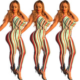 Rainbow Color Vertical Striped Full Length Rompers Casual Woman Halter Collar V Neck Sleeveless Backless Long Jumpsuits OL7556 - thefashionique