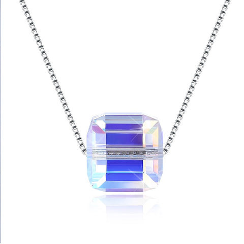 Rainbow Colorful Square Crystal Comes From The Swarovski Element Sugar Pendant Sterling Silver Necklace For Woman Love  Gift - thefashionique