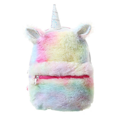 Rainbow Fur Women Leather Backpacks Winter Teenager Girls Unicorn Schoolbag Fashion Sequins Mini Female Bag Travel Shoulder bag - thefashionique