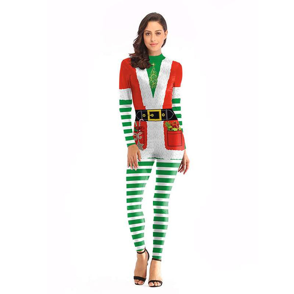 Raisevern Christmas Funny Santa Claus Costume Jumpsuits Cosplay Winter Women 3D Print Ball Party Playsuits Bodysuits Dropship - thefashionique