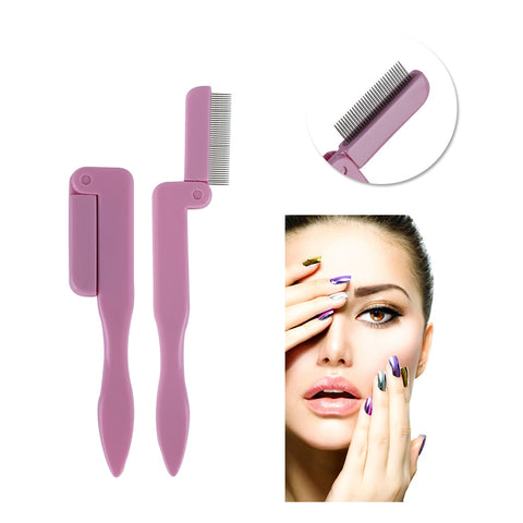 Random Color! Foldable Eyelash Comb Makeup Brush Eyelash Extension Tool MakeupTools Eyebrow Eyelash Comb Comestic Accessories - thefashionique