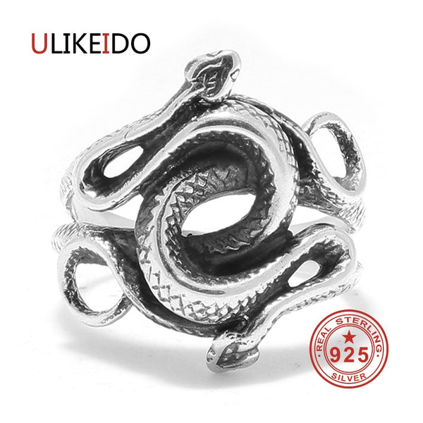 Real 925 Sterling Silver Rings Snake For Men Natural Born Killers Double Head Thai Silver Jewelry Vintage Christmas Gift 2018 - thefashionique