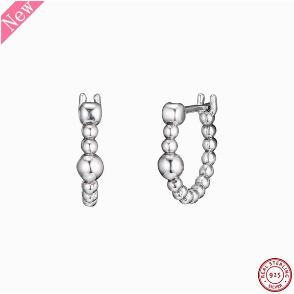 Real 925 Sterling Silver String of Beads Hoop Earrings for Women Jewelry Feature Gleaming Spheres Reminiscent of Bubbles FLE146 - thefashionique