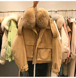 Real Natural Fox Fur Winter White Duck Dowm Parka Coat For Women Lapel Short