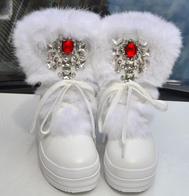 Real Rabbit Fur Winter Boots Girls Rhinestones Diamond Fashion Snow Boots Thick Warm High-Top Women Shoes Large 40 Winter Boots