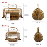 Realer Women Handbag Bamboo Bag Female Genuine Totes Straw Woven Foldable Bucket Hollow Beach Bags Ladies Purse Summer 2020 Wood