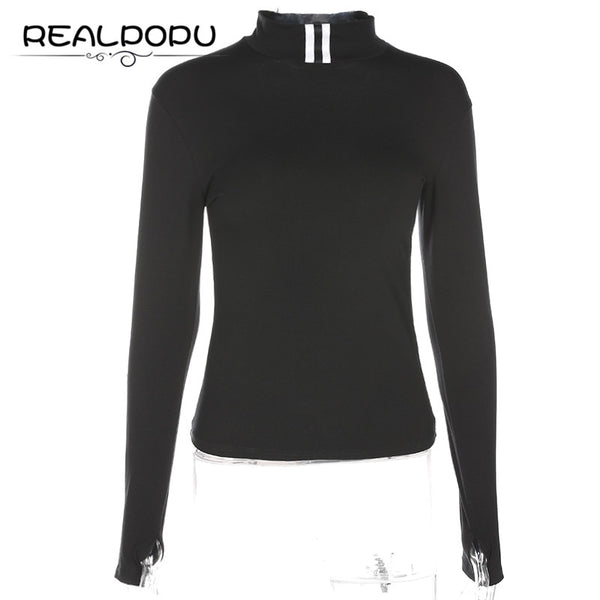 Realpopu 2017 Striped Long Sleeve T-shirt Tight Turtleneck Casual Fashion Funny T Shirt Women Tops Tee Female Kawaii Clothes - thefashionique