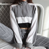 Realpopu long-sleeved pullovers hoodies Deep V Neck Top Drawstring Loose Cropped Patchwork Sweatshirt Women Kawaii Oversize 2018 - thefashionique