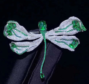 Red/Blue/Green Cubic Zirconia micro pave Butterfly Brooch Pin