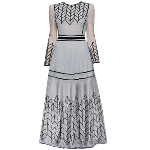 Red RoosaRosee 2019 Summer Runway Dot Embroidery Slim Waist Sexy Elegant Midi Party Dress Women's Gray Gauze Vestidos Robe Femme - thefashionique