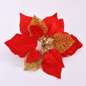 Red christmas flower simulation large decoration flower DIY Christmas Tree Silk Flowers newyear party decor Accessories
