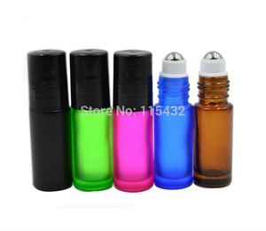 Refillable Thick 5ml 1/6oz MINI ROLL ON Green GLASS BOTTLES ESSENTIAL OIL Steel Metal Roller ball fragrance PERFUME 2000PCS - thefashionique