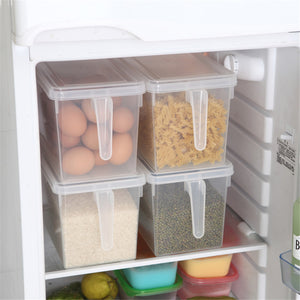 Refrigerator Storage Box Grains Beans Storage Container With Handle Plastic Sealed Box Home Kitchen Food Organizer 1PC - thefashionique