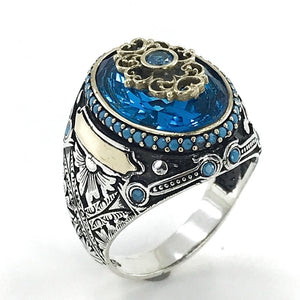 Reng-i Ala Aquamarin Custom Handwork Silver Men 'S Ring