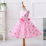 Retail flower dress in sashes for wedding party girls floral print dress first communion dresses Size:100-150  L619 - thefashionique