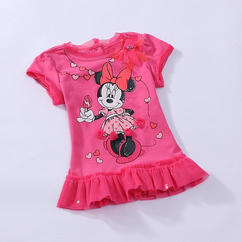 Retail short sleeve baby girl Minnie mouse summer dress tutu lace dress one piece retail christmas rose fashion 0-2Y RT24 - thefashionique