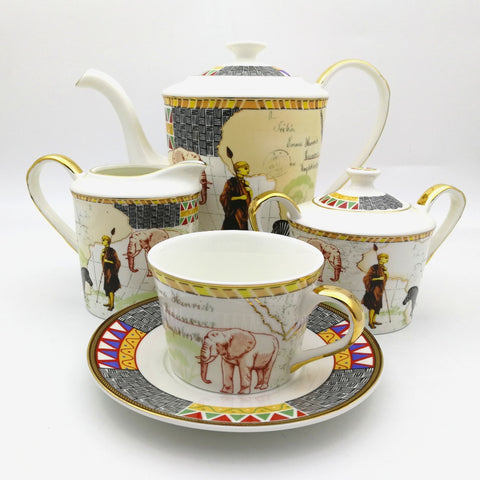 Retro Egyptian Style Art Bone China Tablerware Set Map Of Africa Animal Afternoon Tea Coffee Set Cup Salver Tray Package 7 pcs