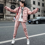 Retro Fashion Women's Sets Multi-pocket Jacket + Pants Women Spring Elegant Pink Outfits Coat And Trousers Casual Two Piece Set - thefashionique