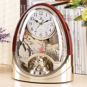 Retro Nostalgic Music Hourly Chiming Table Clock Creative Mute Desk Clock Bedroom Living room Office Bar Desktop Clock Quartz